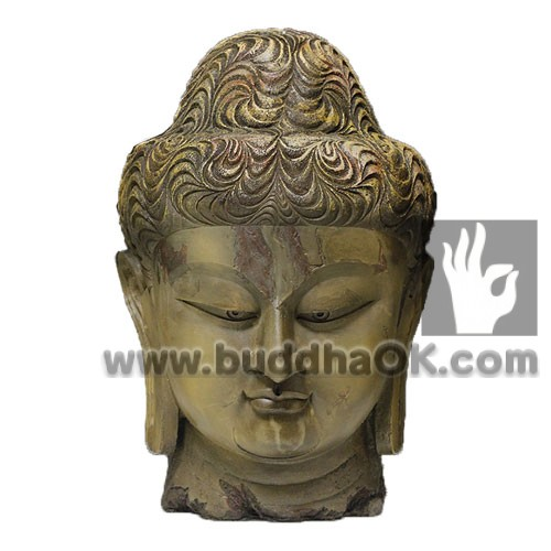 Antique Celaton Serene Meditation Buddha Head Front