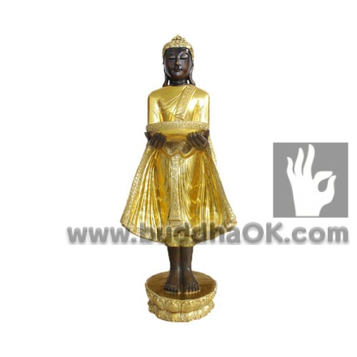 Antique-Gold-Thai-Stand-Buddha-Front-with-A-Tray