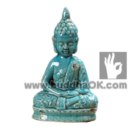 Antique-Porcelain-Bule-Sitting-Buddha-Front-Table-Decor