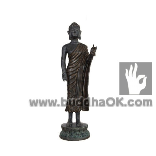 Antique-Stand-Buddha-Mud-Colored-Front-with-Base