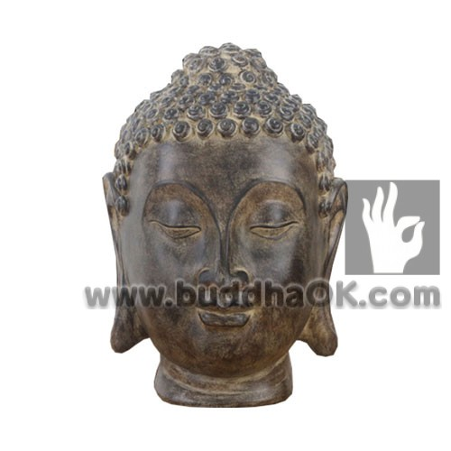 Mud Colored Buddha Head Front Table Decor