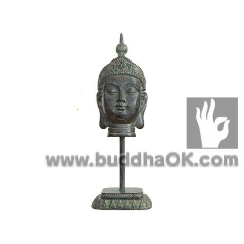 Patina-like-Antique-Thai-Resin-Buddha-Head-Decor--Front