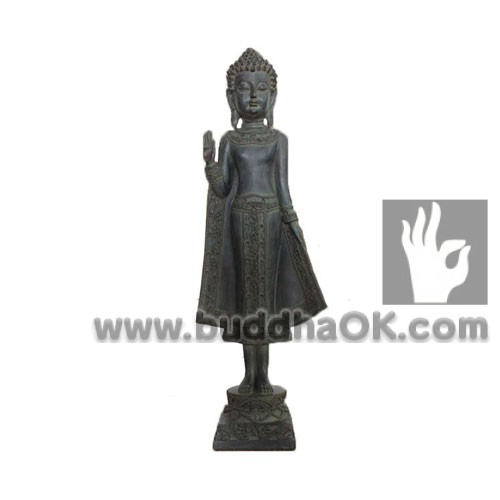 Resin-Antique-Thai-Bronze-like--Stand-Buddha-Fearless-Front