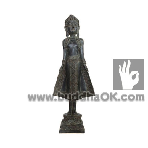 Resin-Antique-Thai-Bronze-like--Stand-Buddha-Front