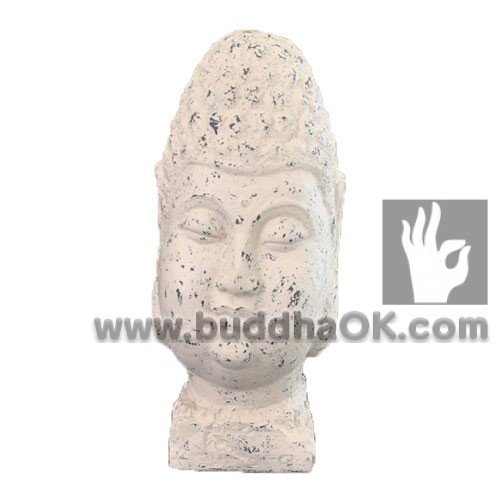 Resin-Antique-White-Buddha-Head-Front