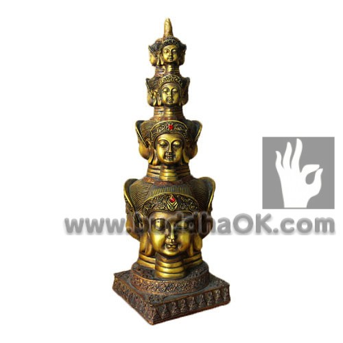 Resin-Gold-Four-Sided-Buddha-Head-Profile-Table-Head
