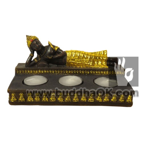 Resin Reclining Buddha Canddle Holder Front Decor