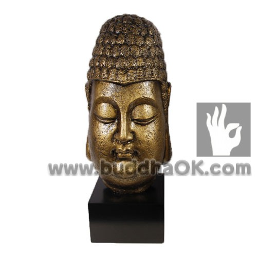 Resin Antique Gold Buddha Head Front