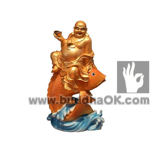 wood-carved-laughing-buddha-holding-a-gold-ingot-sitting-on-a-goldfish-mounts