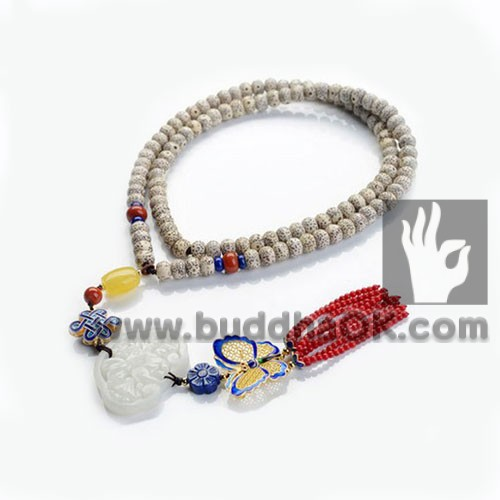 rudraksha lotus seed buddha counter jade necklace