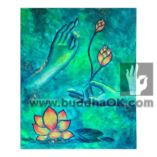 lotus green abstract modern Buddha oil painting buddhism picture on canvas wall decor artwork
